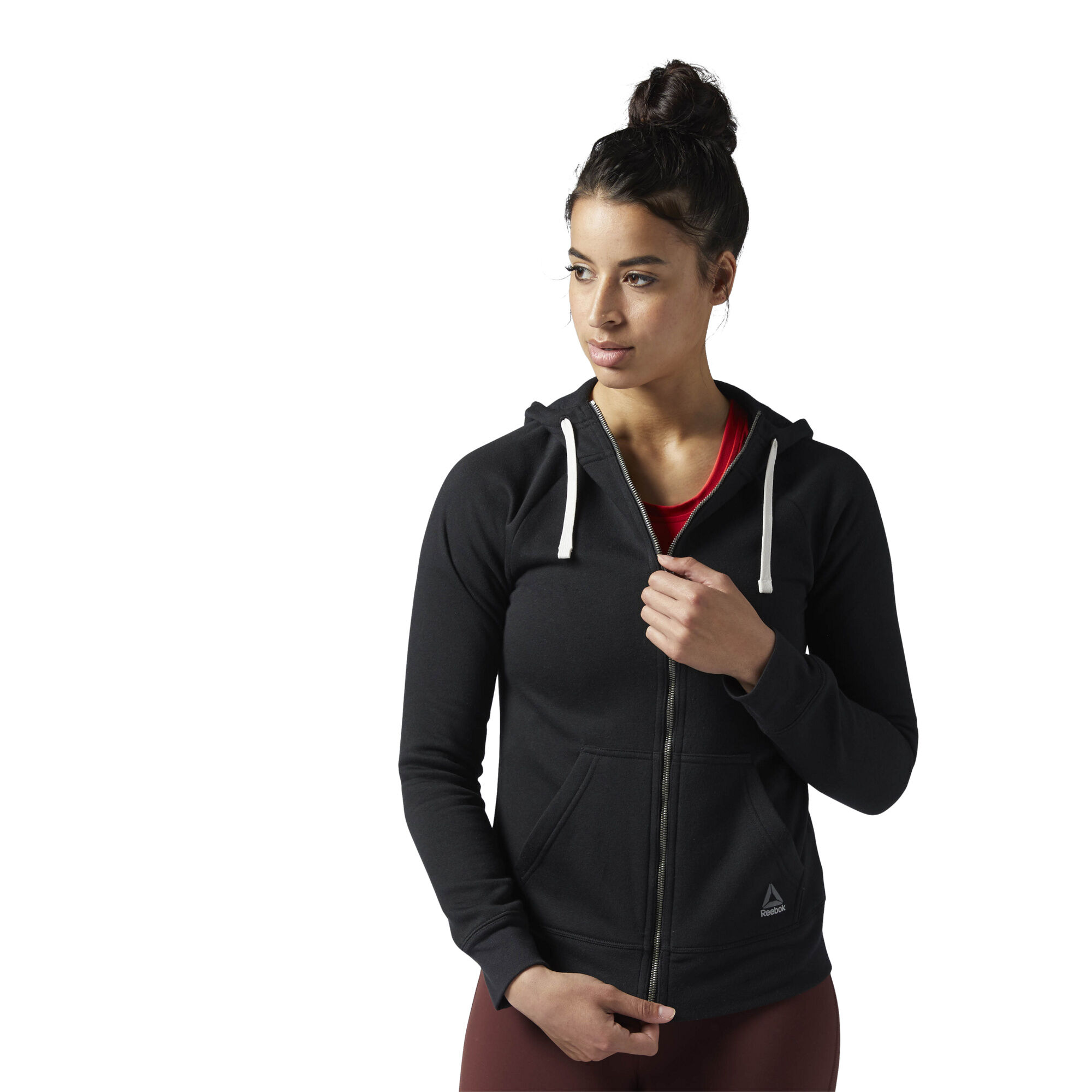 Reebok Women's Training Essentials Fleece Full Zip Hoodie in Black Size XS - Training Apparel