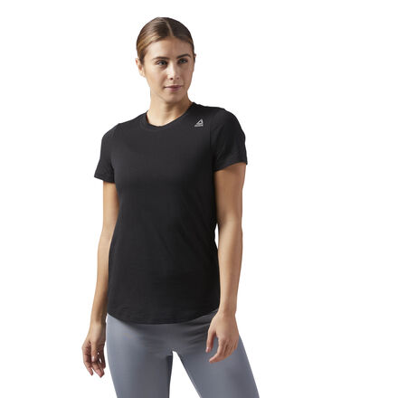 If you need apparel that fits into your active lifestyle, look no further. This women\'s tee is a wardrobe staple, blending a traditional, athletic cut that helps you move unencumbered with a soft fabric that feels excellent next to your skin. Designed for: Gym workouts, athleisure, warm weather Fit: Slim fit Shaped hem for coverage Reebok delta graphic Materials: 100% Cotton, single jersey fabric for comfort Imported