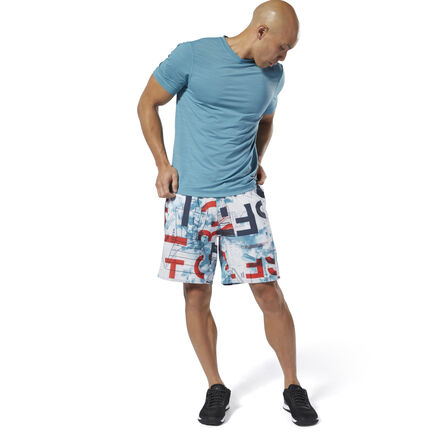 Find explosive power and speed in double unders or muscle-ups. These men\'s training shorts are made of ultra-lightweight stretch woven fabric so you can move freely. The allover print celebrates CrossFit\'s scientific approach to fitness. Convenient hand pockets make them easy to coach in or wear outside the gym. 86% polyester / 14% spandex plain weave Designed for: Versatile training CrossFit-specific fit Drawcord on elastic waist for adjustability Hand pockets for essentials Ultra-lightweight fabric for comfort 8\