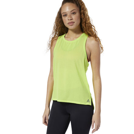 Meet the demands of your workout in the modern style of this women\'s sweat-wicking tank top. An easy layering piece, the perforated design and dropped armholes offer supreme breathability while flashing a glimpse of your sports bra. 84% recycled polyester / 16% spandex single jersey Designed for: Training workouts Slim fit Speedwick fabric wicks sweat to help you stay cool and dry Wide armholes for layering This tank top is made with recycled polyester to save resources and decrease emissions Imported