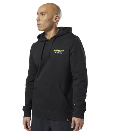 Take out the chill with retro-inspired style in this men\'s CrossFit hoodie. Cut for a slim fit, it\'s made of soft, fleece fabric for comfort. A kangaroo pocket secures the essentials. A ribbed hem and cuffs keep it snug. 80% cotton / 20% polyester fleece Slim fit Kangaroo pocket Drawcord on hood for adjustability Ribbed cuffs and hem for snug fit We partner with the Better Cotton Initiative to improve cotton farming globally Imported