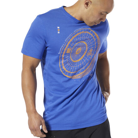 Throw some weight around the box. This men\'s tee has a graphic inspired by the tech and science of the weight room. The cotton t-shirt is cut in a slim fit that keeps it sleek. 100% cotton single jersey Slim fit Crewneck Short sleeves We partner with the Better Cotton Initiative to improve cotton farming globally Imported