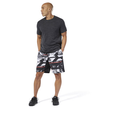 Perform your best in these men\'s training shorts. They\'re made with Speedwick fabric to manage moisture for cool, dry comfort. The adjustable waist provides a custom fit, while four-way stretch construction offers easy movement for amped-up sessions. 86% polyester / 14% spandex plain weave Designed for: Training Regular fit Speedwick fabric wicks sweat to help you stay cool and dry Drawcord-adjustable waist for custom fit Hand pockets for essentials Imported
