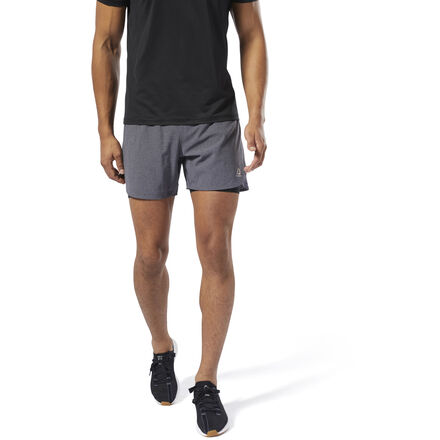 Feel light, free and unrestricted. These men\'s two-in-one running shorts combine stretchy, slim-fitting outer shorts with fitted inner shorts for maximum coverage. They\'re made of Speedwick fabric designed to lift sweat away from the skin. The elastic waistband provides a secure feel, no matter the pace. Outer shorts: 83% polyester / 17% elastane; Inner shorts: 88% polyester / 12% elastane Designed for: Running Outer shorts: Slim fit; Inner shorts: Fitted fit Speedwick fabric wicks sweat to help you stay cool and dry Elastic waist for a secure fit 5\
