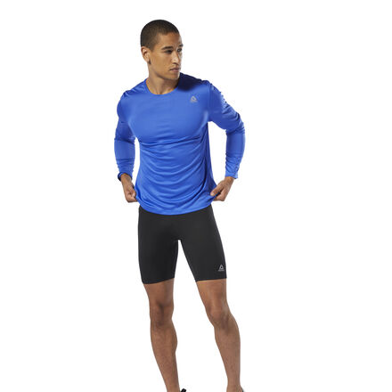 Glide past the competition in these men\'s running tights. Designed for flexibility and movement, they\'re made of moisture-wicking fabric to sweep sweat and help you stay cool from first to last stride. Reflective details increase visibility. 88% polyester / 12% spandex single jersey Designed for: Running Fitted fit Speedwick fabric wicks sweat to help you stay cool and dry Reflectivity for added low-light visibility Imported