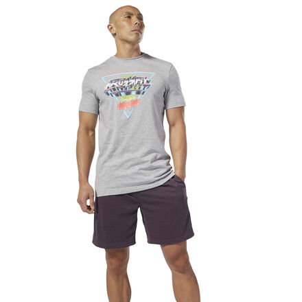 Make today one of your greatest hits. This men\'s tee shows off a retro graphic inspired by workout music inside the box flashes across the front. A slim fit gives the cotton t-shirt a sleek look. 100% cotton single jersey Slim fit Crewneck Short sleeves CrossFit� graphic We partner with the Better Cotton Initiative to improve cotton farming globally Imported