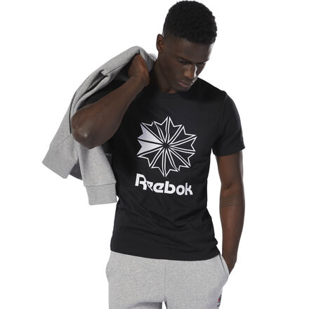 Stand out in retro style. This men\'s tee shows off an oversize Starcrest logo. The iconic symbol and slim fit give the t-shirt a throwback feel. 100% cotton single jersey Slim fit Reebok Starcrest graphic on front We partner with the Better Cotton Initiative to improve cotton farming globally Imported