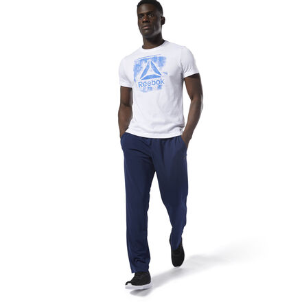Hit the gym or the track in these men\'s training pants. They\'re made with Speedwick fabric that manages heat and moisture. Articulated knees let you move without restriction, and hand pockets provide a place for your essentials. 100% polyester doubleknit Designed for: Training Regular fit Speedwick fabric wicks sweat to help you stay cool and dry Drawcord on woven waist for adjustability Hand pockets for essentials Articulated knee construction for ease of movement
