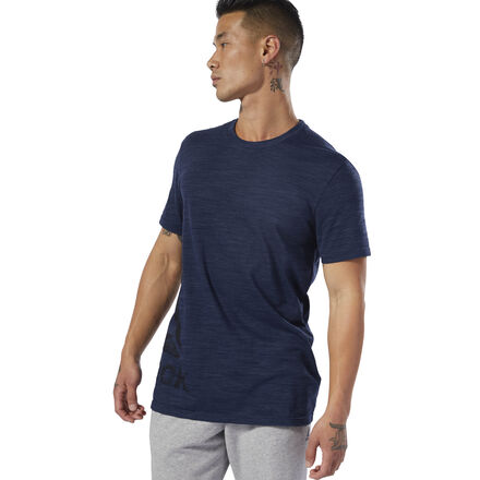 Year-round comfort. This men\'s t-shirt is designed for all-season wear. The striking look of textured marble m�lange gives it a stylish touch. The slim-fit tee is built without side seams for added comfort. 80% cotton / 20% polyester single jersey Slim fit Built without side seams for added comfort Reebok logo on right side Marble m�lange texture adds visual interest We partner with the Better Cotton Initiative to improve cotton farming globally Imported