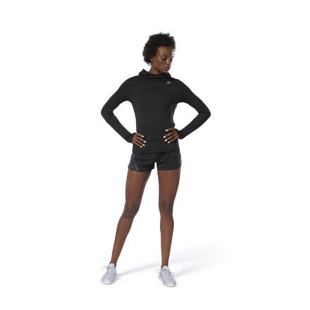 Temperamental weather isn\'t an excuse. Layer up in this women\'s slim-fitting running hoodie made with Speedwick fabric that moves moisture away from your body. A scuba-like hood covers the neck and head, while the mesh panel in back adds breathable ventilation. 92% polyester / 8% spandex single jersey Designed for: Running Slim fit Speedwick fabric wicks sweat to help you stay cool and dry; Mesh back panel for ventilation and breathability Scuba-like hood; Articulated elbows for ease of movement Side zip pocket for small essentials Reflective strip on back for added low-light visibility