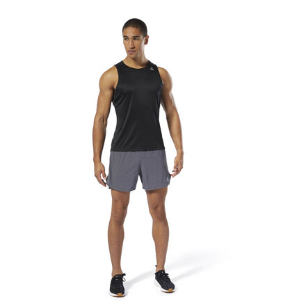 Whether building endurance on the trail or the treadmill, this men\'s running singlet is made of a lightweight, stretchy fabric for free and easy movement with every stride. Sweat-wicking fabric keeps you cool and dry during long distance runs. Reflective details increase your visibility during early morning or late night runs. 52% recycled polyester / 48% polyester interlock Designed for: Running Regular fit Speedwick fabric wicks sweat to help you stay cool and dry Reflective details for added low-light visibility Mesh panels for ventilation and breathability This singlet is made with recycled polyester to save resources and decrease emissions