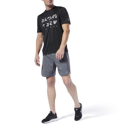 Push through tough runs. These men\'s running shorts are made with Speedwick fabric to help keep you cool and dry. A drawcord waist provides adjustability, while side slits at the hem allow for freedom of movement. Reflective details offer added visibility during low-lit runs. 100% polyester plain weave Designed for: Running Regular fit Speedwick fabric wicks sweat to help you stay cool and dry Reflectivity for added low-light visibility Drawcord on elastic waist for a secure, adjustable fit; Side slits at the hem for easy movement 7\