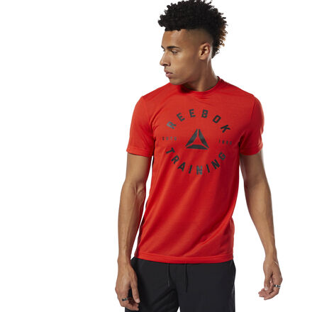 Train hard. Sweat hard. Engineered with Speedwick fabric technology, our men\'s workout shirt pairs with breathable shorts for an intense workout session or casual joggers for a relaxed look. The training graphic calls up a heritage of hard work. Imported