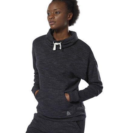 Keeping you warmed up. Comfortable and casual, this women\'s sweatshirt is made from cozy French terry. The pullover has a subtle m�lange look with ribbed details on the lower sleeves. A modern cowl-neck design for added coverage. 70% cotton / 30% polyester French terry Regular fit Cowl neck Drawcord for adjustability Ribbed lower sleeves; Kangaroo pocket We partner with the Better Cotton Initiative to improve cotton farming globally Imported