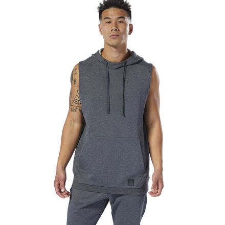 A classic boxing hoodie remastered with a casual, modern approach. This men\'s sleeveless hoodie is made of soft, heavyweight cotton for everyday comfort. Cut to move with your body, it features ribbed side gussets for flexibility. A drawcord on the hood lets you adjust your coverage as the temperatures drop. A kangaroo pocket keeps small essentials close. 100% cotton French terry Designed for: Warmups Slim fit Kangaroo pocket Drawcord on hood for adjustability Sleeveless We partner with the Better Cotton Initiative to improve cotton farming globally