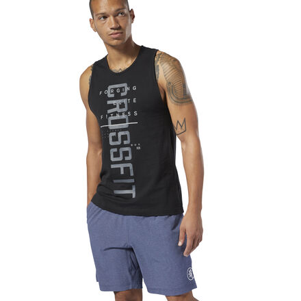 The next best thing to shirtless. This men\'s training tank top is made of mesh with a soft cotton feel to provide maximum ventilation and barely-there comfort. It\'s designed with a slim fit. 96% cotton / 2% spandex / 2% polyester mesh Designed for: CrossFit Slim fit; CrossFit-specific fit We partner with the Better Cotton Initiative to improve cotton farming globally Imported