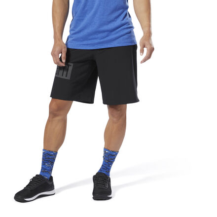Born from Southern California beach culture, board shorts have been a key CrossFit style since the beginning. These men\'s training shorts are made of lightweight woven fabric with a water-repellent coating so they won\'t get soaked no matter how much you sweat on that AMRAP. The drawcord-adjustable waist lock downs the fit without bulk or bunching. 87% polyester / 13% spandex plain weave Designed for: Any workout Drawcord on waist for adjustability Cordlock closure provides ideal fit without any bulk Hand pockets for essentials DWR durable water-repellent finish helps keep outer fabric from getting saturated with moisture Imported
