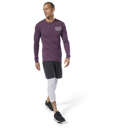 Pull on this men\'s thermal long sleeve for a layer of warmth en route to the box. Constructed specifically to fit the physique of the CrossFit athlete, this rib knit top has batwing sleeves and is cut wider at the biceps, shoulders, and chest. The shirt tapers at the waist for a trim finish. Materials: 95% Cotton / 5% Spandex, rib knit fabric for warmth and natural breathability Designed for: CrossFit, warming up, layering Fit: CrossFit-specific fit Batwing silhouette for added mobility Crew neckline for resilient wear CrossFit wordmark at the left chest Imported