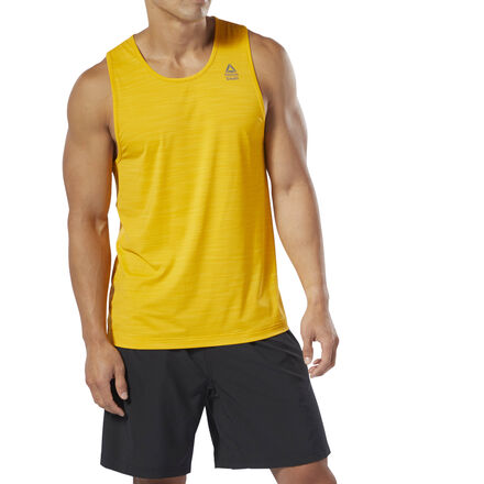 Show your Games Day-readiness in this CrossFit Games tank top built to perform in hot gyms or outdoor heat. Featuring full-body ACTIVCHILL technology, the engineered texture on the back helps enhance ventilating airflow. A CrossFit games logo dresses up this shirt\'s front. Fabric: 84% Nylon / 16% Spandex, single jersey fabric for comfort and mobility Designed for: CrossFit, intense workouts, hot weather Fit: CrossFit-specific fit ACTIVCHILL fabric technology is engineered with enhanced breathability to help keep your body cool Engineered jacquard back for added ventilation Signature X graphic integrated into the fabric on the back Reebok CrossFit logo on the upper left chest