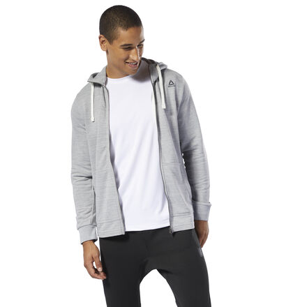 Dress up while dressing down. This men\'s full-zip hoodie has a soft French terry build and the striking look of textured marble m�lange. Ribbed inserts at the hem round out the sweatshirt\'s modern look. 70% cotton / 30% polyester French terry Regular fit Hand pockets for essentials Drawcord on hood for adjustability Marble m�lange texture adds visual interest; Ribbed inserts at hem We partner with the Better Cotton Initiative to improve cotton farming globally Imported