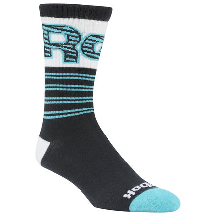 These socks shout out Reebok heritage with a big wrapped graphic on the cuff. They\'re made of a stretchy, comfortable cotton-blend knit. Terry on the toe and heel add extra cushioning. 42% cotton / 35% polyester / 19% nylon / 4% spandex Terry heel and toe for comfort Imported