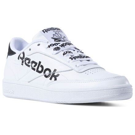 A shout out to Reebok heritage. These women\'s shoes are a bold twist on an \'80s tennis favorite. The soft leather upper sports an oversize logo, while extra-thick laces feature the matching smaller versions. Soft leather upper with big logo printed on the side Thick, tonal shoelaces EVA midsole for lightweight cushioning Tennis-inspired flat outsole with pivot zone Imported