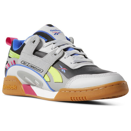 The iconic Workout Plus gets revamped with an upper inspired by \'90s running styles. A mix of leather, suede and mesh gives these shoes a layered look. Bright color accents and a gum rubber outsole add to the throwback vibe. Leather upper with mesh and suede accents Cushioned EVA foam midsole Heel pull for easy on and off Durable gum rubber outsole Imported