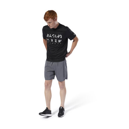 Designed for versatile wear in and out of the gym. This men\'s running t-shirt is made of lightweight, moisture-wicking fabric to keep you cool and dry on every stride. The front graphic adds extra pop when you\'re on the treadmill or outdoors. 52% recycled polyester / 48% polyester interlock Designed for: Running workouts Regular fit Speedwick fabric wicks sweat to help you stay cool and dry Reflective details for added low-light visibility Mesh panels for ventilation and breathability; Crewneck; Short sleeves This tee is made with recycled polyester to save resources and decrease emissions