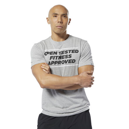 Show your support for the 2019 CrossFit Open in this men\'s graphic t-shirt. It\'s made of flexible, lightweight cotton for everyday comfort. 100% cotton single jersey Slim fit We partner with the Better Cotton Initiative to improve cotton farming globally Imported